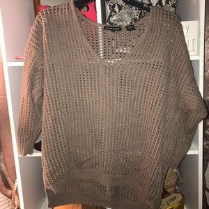 Taupe Crochet Sweater